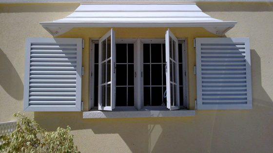 Colonial Shutters with Hood