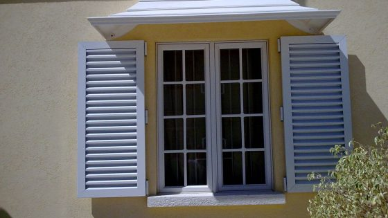 Opened Colonial Shutters